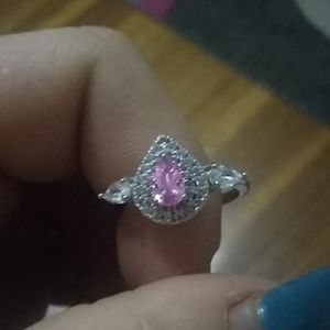 Sterling/Pink topaz CZ ring